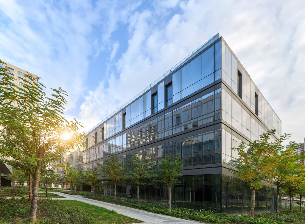 office building with beautiful landscaping