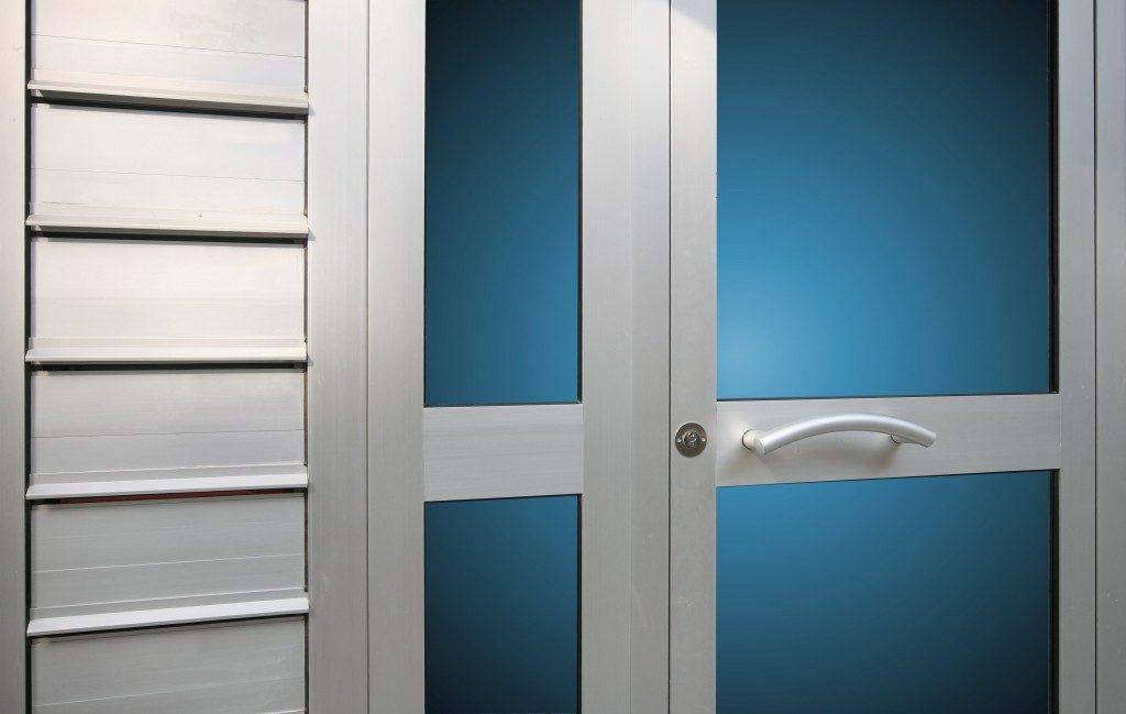 a metal double door