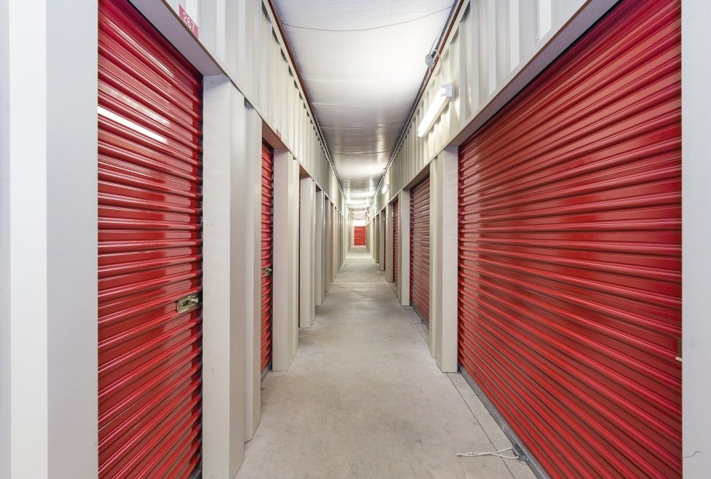 line of closed commercial garage doors