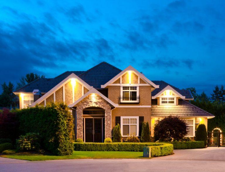 Big luxury house at dusk