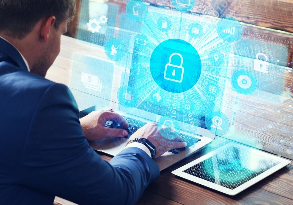 lock icon on a virtual screen