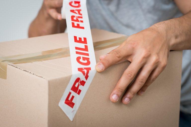 fragile tape in box