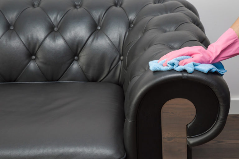 person cleaning couch
